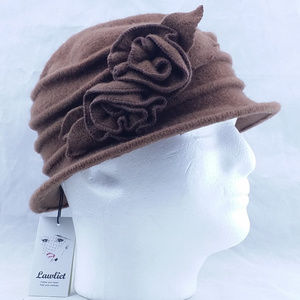 Lawliet Vintage 1920's Style Wool Hat Flowers